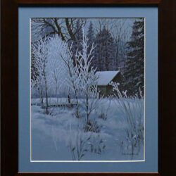 Frosty Morning is an original 10 x 8 inches mixed media landscape painting © 2014 Marv Espe. Winter scene with snow and frost on the tree branches and tall grass.