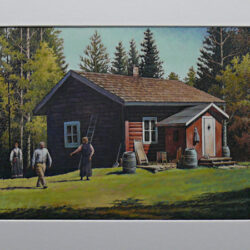 Grensbråten is an original 8.25 x 11 inches mixed media figurative painting © 2014 Marv Espe. A red hytte, or country cabin, in Norway with people in the yard.