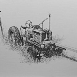 F12 Farmall is an original 7 x 11 inches pen and ink figurative drawing © 2013 Marv Espe. An old tractor sitting among the weeds on a farm.