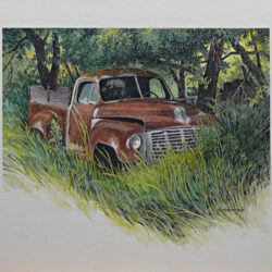 Rusty Pickup is an original 8 x 9.75 inches mixed media figurative painting © 2013 Marv Espe. An old pickup truck sits in the weeds by the edge of the woods.