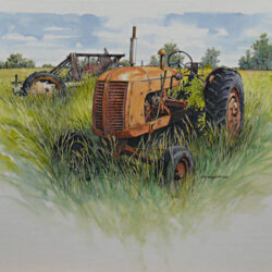 The Old Co-op is an original 8 x 10.25 inches mixed media figurative painting © 2013 Marv Espe. An old tractor and other abandoned farm machinery sitting in the weeds.