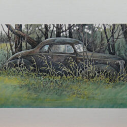 Marooned is an original 6.5 x 10 inches mixed media figurative painting © 2014 Marv Espe. An old coupe style car sits in the weeds near the woods.