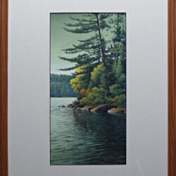 Hush of Green is an original 17 x 7.25 inches mixed media landscape painting © 2006 Marv Espe. Beautiful lake scene with a rocks and evergreen trees at the shore. Framed.