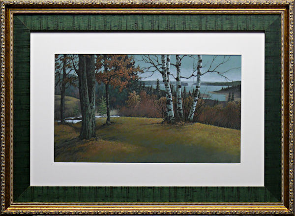 Vista of St. Croix Lake is an original 10 x 17 inches mixed media landscape painting © 2013 Marv Espe. A lake is seen in the distance from a wooded hill. Framed.