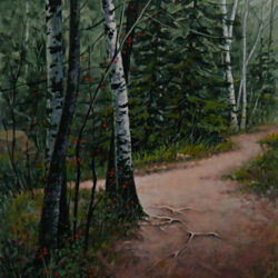 Nature Trail is an original 12 x 10 inches acrylics landscape painting © 2009 Marv Espe. A tree lined dirt trail in the forest.
