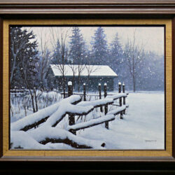 As White As Snow is an original 16 x 20 inches acrylics figurative landscape painting © 2012 Marv Espe. Winter scene with a cabin and log fence and falling snow. Framed