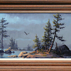Wilderness Sanctuary is an original 10 x 24 inches acrylics landscape painting © 1996 Marv Espe. A bald eagle is flying over small islands on a lake in the forest. Framed.