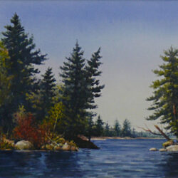 Woodland Waterway is an original 8.5 x 12 inches water color landscape painting © 2007 Marv Espe. Beautiful lake scene with a rocks and evergreen trees at the shore.