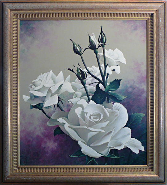 Rose of White is an original 16 x 12 inches acrylics still life painting © 2011 Marv Espe. Beautiful white blossoms with buds. Framed.