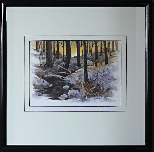 Warm Winter is an original 6.5 x 9 inches water color landscape painting © 2007 Marv Espe. Winter scene of a brook in the snow covered forest at sunset. Framed.