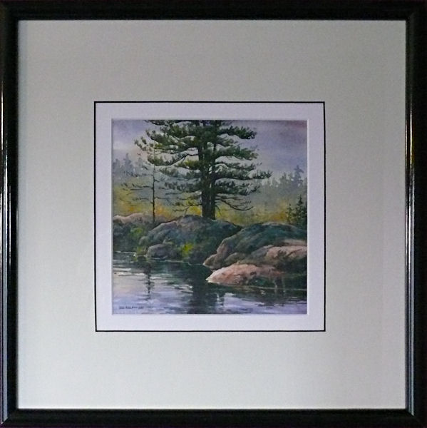 Pines on the Rocks is an original 7 x 7 inches water color landscape painting © 2007 Marv Espe. Pine trees growing out of the rocks at the lake shore. Framed.