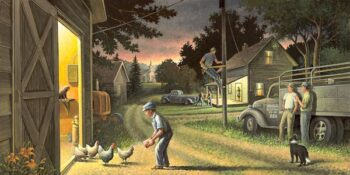 Eventful Evening An evening farm scene with people animals vehicles and buildings.