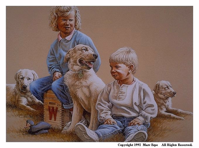 Canine Chums is a 13 x 19½ inches lithograph print © 1992 by Marv Espe. Two children, a dog and two puppies.
