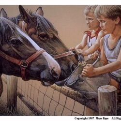 Horsin' Around is a 9½ x 13 1/8 inches lithograph print © 1987 by Marv Espe. Two children feeding two horses at a fence.