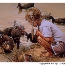 Ducky Day is a 9.5 x 13.125 inches lithograph print of pen & ink w/ watercolor & acrylics © 1988 Marv Espe. A young girl feeding several ducks at the edge of a pond.