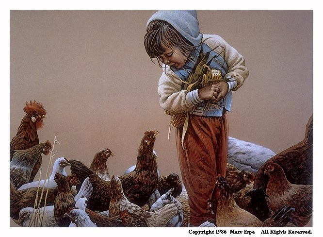 Feedin' Chickens is a 9.5 x 13.125 inches lithograph print of pen & ink w/ watercolor & acrylics © 1986 Marv Espe. A young girls feeding chickens on the farm.