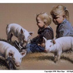 Three Little Pigs is a 9.5 x 13.125 inches lithograph print of pen & ink w/ watercolor & acrylics © 1990 Marv Espe. Three little pigs and two young children sitting in the grass by them.