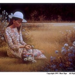 Ingrid is a 12.5 x 17 inches lithograph print of acrylics © 1993 Marv Espe. A girl in a white hat sitting in a meadow with wild flowers.