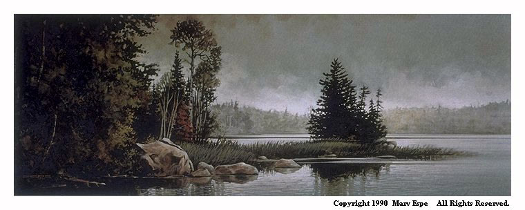 Boundary Waters is a 8.5 x 23 inches lithograph print of acrylics © 1990 Marv Espe. Lake shore scene with rocks, trees and clouds in the Boundary Waters of Minnesota.