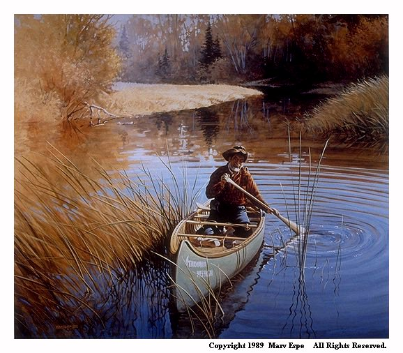 Bear Creek is a 14 x 16 inches lithograph print of acrylics © 1989 Marv Espe. A bearded man in a had is paddling a canoe on a river in an autumn scene.