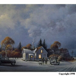 Light in the Night is a 11 x 23 inches lithograph print of acrylics © 1990 Marv Espe. An early evening rural winter farm scene with lights on in the house and a couple 1940s cars and two men visiting in the yard.