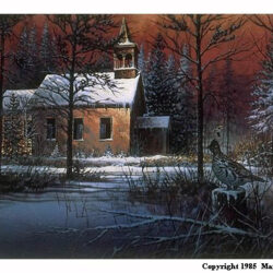 Silent Steeple is a 11.25 x 23 inches lithograph print of acrylics © 1985 Marv Espe. An old church in the forest with a partridge on a stump in an evening winter scene with snow on the gound and tree branches and roof.