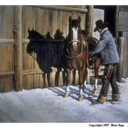 Saddlin' Up is a 15.5 x 24 inches lithograph print of acrylics © 1987 Marv Espe. A man in a cowboy hat is saddling up a brown horse in winter with snow on the ground.