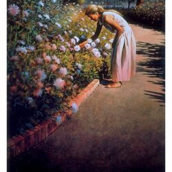 Mid-Morning Enchantment is a 22 x 14.75 inches lithograph print of acrylics © 1989 Marv Espe. A beautiful young woman on a path in a flower garden.