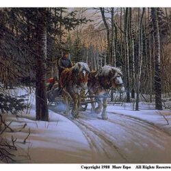Hayride is a 15.875 x 17.75 inches lithograph print of pen & ink w/ watercolor & acrylics © 1988 Marv Espe. People enjoy a horse drawn Sleigh Ride through the forest in the winter snow.