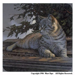 Green Eyes is a 7 x 7 inches lithograph print of pen & ink w/ watercolor & acrylics © 1986 Marv Espe. A striped cat with green eyes and white whiskers.