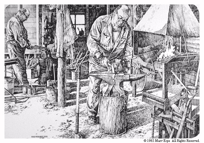 Blacksmithin' is a 9 x 13 inches lithograph print of pen & ink © 1985 Marv Espe. Two men working in a blacksmith shop.