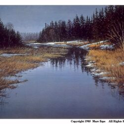 Canoe Country is a 14 x 18 inches lithograph print of acrylics © 1985 Marv Espe. A river flows gently through the forest in an early winter scene with partial snow coverage.
