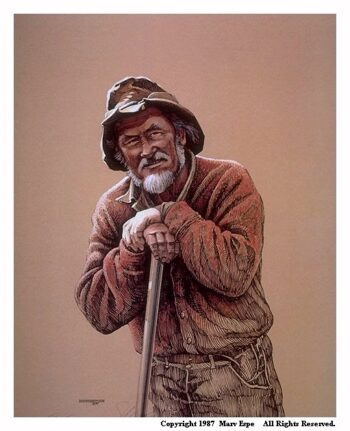 Complacency is a 13 x 10 inches lithograph print of pen & ink w/ watercolor & acrylics © 1987 Marv Espe. A senior man with a hat and white beard leans on his shovel handle.