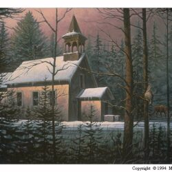 Meetin' Place is a 10.75 x 20 inches lithograph print of acrylics © 1996 Marv Espe. A church in the forest in winter with two moose and a partrige.