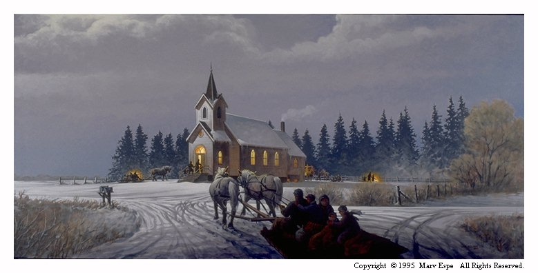 Country Church is a 10.125 x 22 inches lithograph print of acrylics © 1996 Marv Espe. A country church scene in winter with a family approaching the church in a horse drawn sleigh