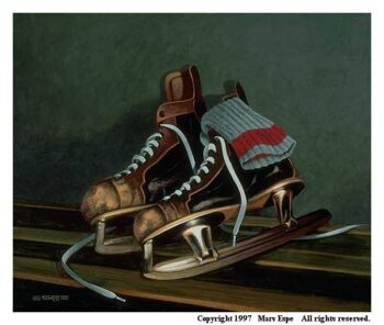 After The Game is a 8 x 10 inches lithograph print © 1997 Marv Espe. A pair of old style ice hockey skates with white laces and a gray and red stocking lean against the wall after the game.