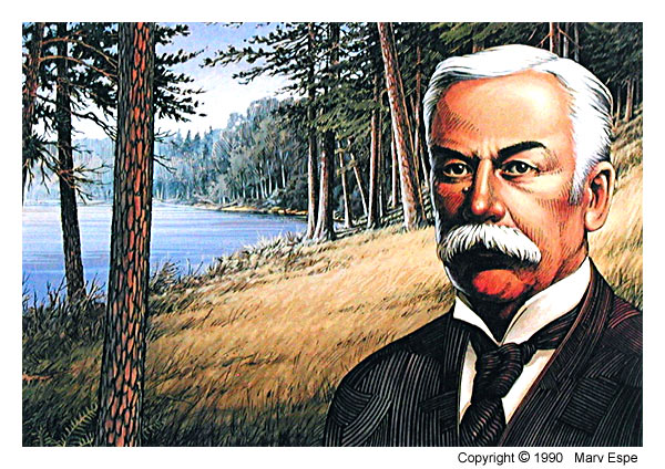 Brower at Itasca is a 7 x 10 inches lithograph print © 1990 Marv Espe. A portrait of Jacob V. Brower who is considered the founder of Itasca State Park and the Minnesota State Park system.