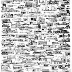 Roseau Past & Present is a 18 x 24 inches poster © 1995 Marv Espe. A poster of many buildings seen in the village of Roseau, Minnesota.