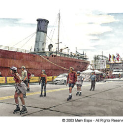 Finish Line is a 5 x 7.5 inches gicleé print of pen & ink w/ watercolor © 2003 Marv Espe. Several young people are seen skating with roller blades near a ship in Duluth Minnesota.