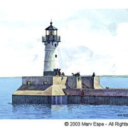 Round Lighthouse is a 5 x 7.5 inches gicleé print of pen & ink w/ watercolor © 2003 Marv Espe. A round lighthouse at the edge of Lake Superior in Duluth Minnesota.