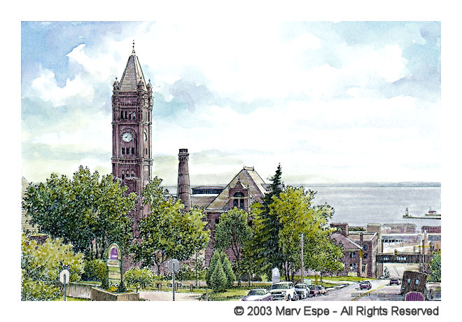Central High Tower is a 5 x 7.5 inches gicleé print of pen & ink w/ watercolor © 2003 Marv Espe. Central High Tower in Duluth Minnesota.