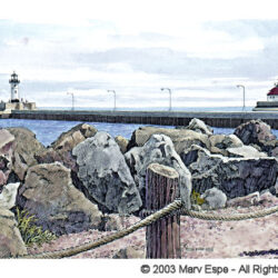 Harbor Passage – Duluth is a 5 x 7.5 inches gicleé print of pen & ink w/ watercolor © 2003 Marv Espe. Large boulders along the shore of Lake Superior and two light houses along the canal in Duluth Minnesota.