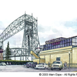Grandma's at the Lift Bridge is a 5 x 7.5 inches gicleé print of pen & ink w/ watercolor © 2003 Marv Espe. The iconic Lift Bridge and Grandma's Restaurant in Duluth Minnesota.