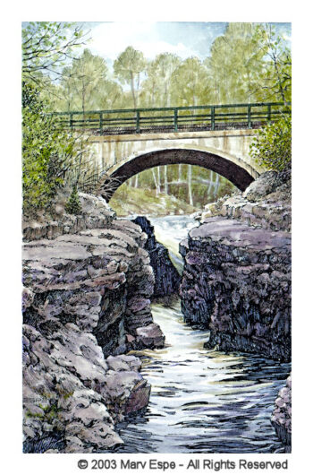 A North Shore Bridge is a 7.5 x 5 inches gicleé print of pen & ink w/ watercolor © 2003 Marv Espe. A bridge over one of the many rivers along the North Shore of Lake Superior in Minnesota.