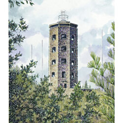 Enger Tower is a 7.5 x 5 inches gicleé print of pen & ink w/ watercolor © 2003 Marv Espe. The Enger Tower in Duluth Minnesota.