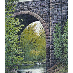 High Arch Bridge is a 7.5 x 5 inches gicleé print of pen & ink w/ watercolor © 2003 Marv Espe. A high arch stone bridge over a stream in Duluth Minnesota.