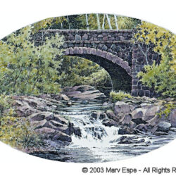 Bridge by Waterfall is a 5 x 7.5 inches gicleé print of pen & ink w/ watercolor © 2003 Marv Espe. A waterfalls of a stream that flows under a stone arch bridge in Duluth Minnesota.