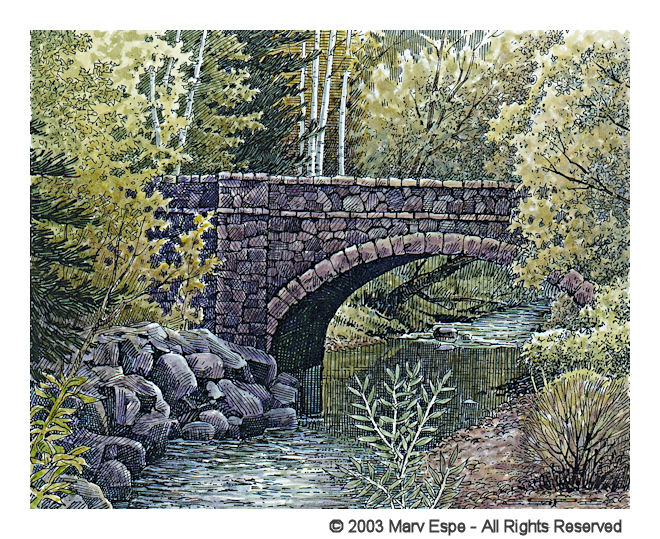 Bridge With Birch is a 5 x 7.5 inches gicleé print of pen & ink w/ watercolor © 2003 Marv Espe. A stone arch bridge over a stream with birch trees and boulders along the shore.