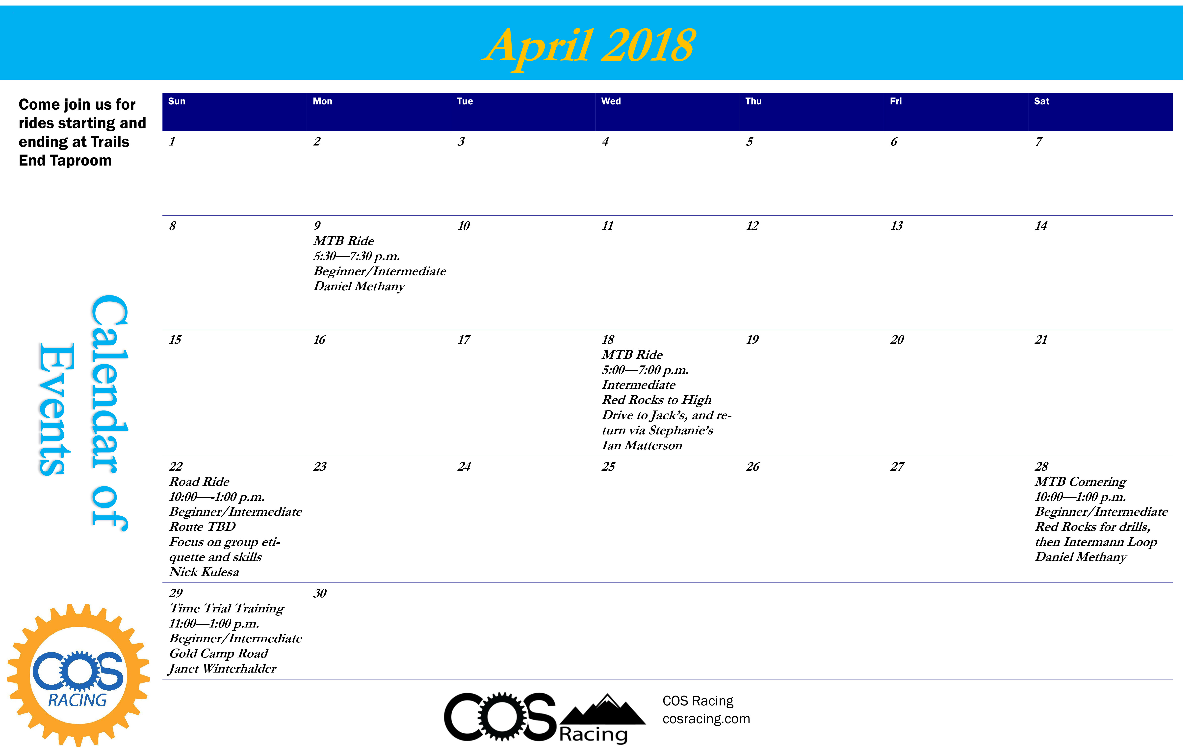 COS Racing April Rides & Clinics (Open-to-the-Public)