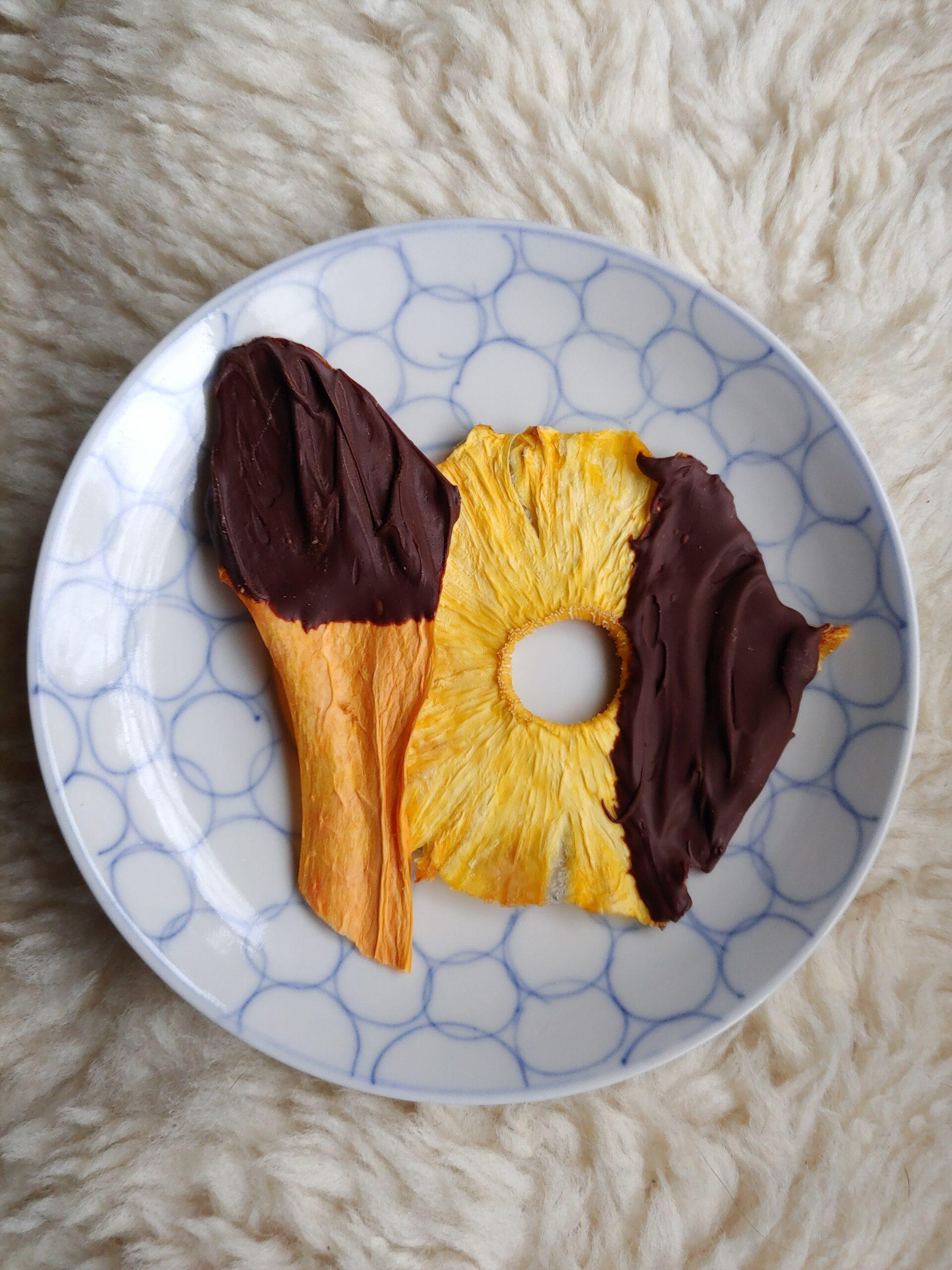 Raw Vegan Chocolate Dipped Dehydrated Fruit